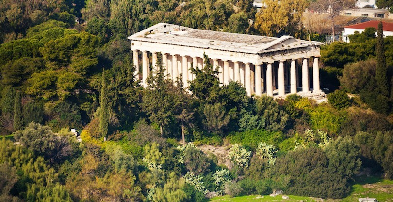 View from top of Temple of Hephaestus Theseion in Athens, Greece during summer