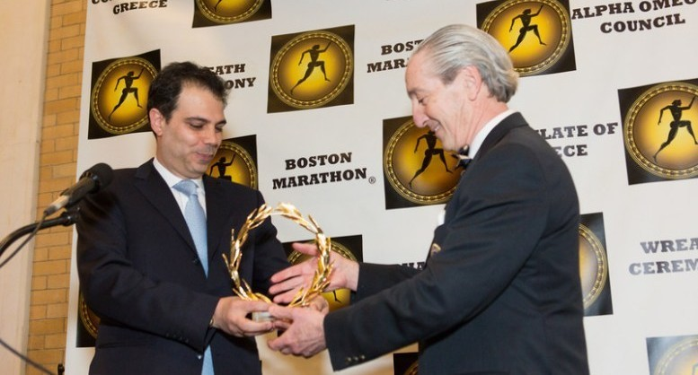 Consul General of Greece presents to the President of Boston Athletic Association wreaths from Greece for the winners of the 2018 Boston Marathon (PRNewsfoto/Alpha Omega Council)