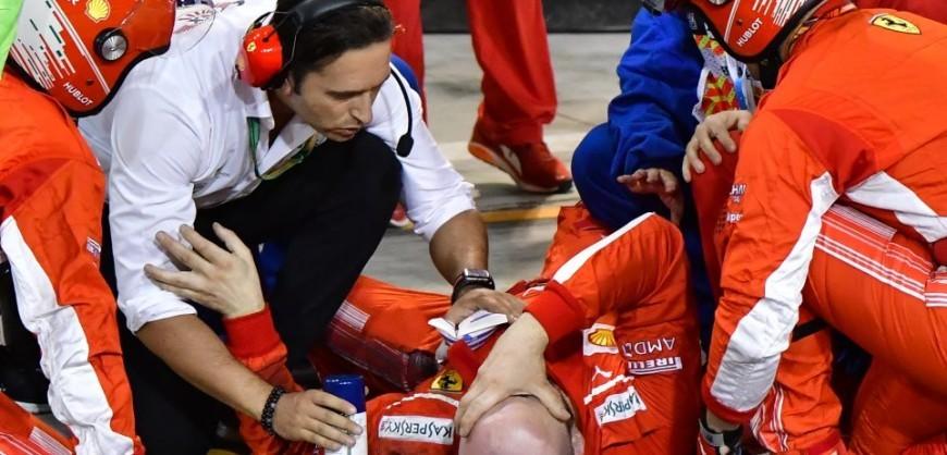 Ferrari mechanic break leg during Bahrain F-1 pit stop