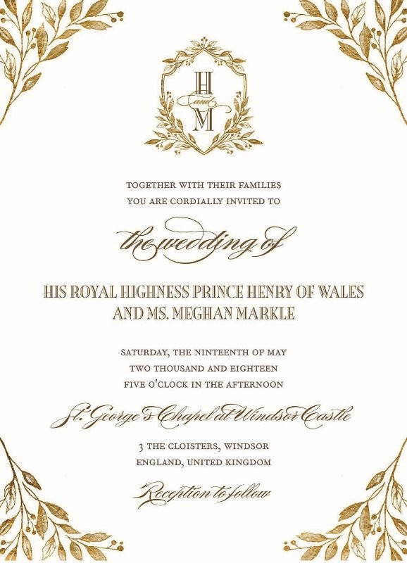 prince harry and meghan send out royal wedding invitations protothemanews com proto thema