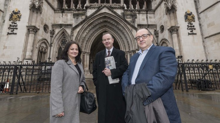 The British Government has lost the first hearing in a claim regarding torture committed by soldiers and security services during the Cyprus Emergency of 1955-59.  Kevin Conroy, solicitor for the claimants is pictured with Androulla Yianni, daughter of one of the claimants and Paul Constantinou, son of a claimant.
