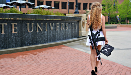 Come Take It Sexy Womans Gun Toting College Graduation Photo