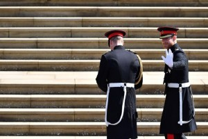 Britain's Prince Harry, Duke of Sussex, arrives with his best man Prince William, Duke of Cambridge, at the West steps of St George's Chapel, Windsor Castle, in Windsor, on May 19, 2018 for his wedding ceremony to marry US actress Meghan Markle. / AFP PHOTO / POOL / Ben STANSALL