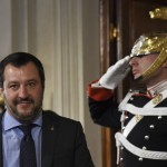 "Matteo Salvini, leader of the far-right party ""Lega"" (League) speaks to the press after a meeting with Italian President Sergio Mattarella as part of consultations of political parties to form a government, on May 14, 2018 at the Quirinale palace in Rome.  The leaders of the anti-immigrant League party and anti-establishment Five Star Movement meet the Italian president today to share details of a coalition government programme three month after general elections in Italy.  / AFP PHOTO / ANDREAS SOLARO"