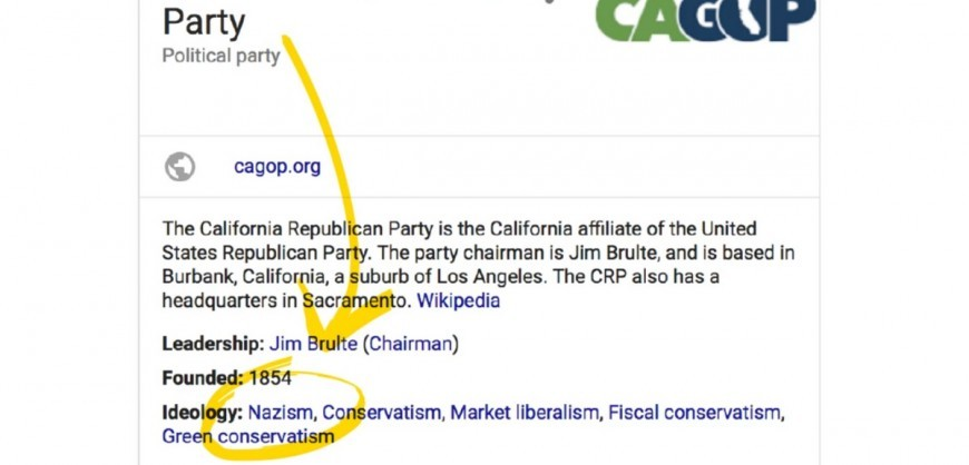 Scandal with Nazism tag in Wikipedia Republican party page